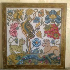Работа «A PARROT, A LEOPARD, A LION REPRODUCTION TENT STITCH NEEDLEWORK»