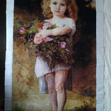 Работа «Girl Holding Flowers-William Adolphe Bouguereau Painter.»