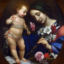 Схема вышивки «After Carlo Dolci - The Virgin and Child with Flowers»