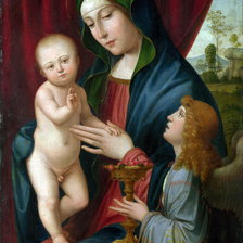 Схема вышивки «After Francesco Francia - The Virgin and Child with an Angel»