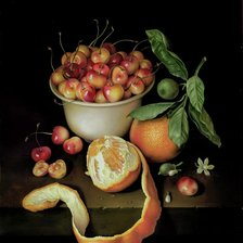 Схема вышивки «STILL LIFE- WHITE BOWL OF CHERRIES AND TWO ORANGAS»