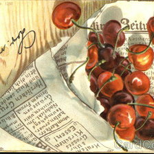 Схема вышивки «Cherries wrapped in newspaper»