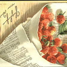 Схема вышивки «Bouquet of strawberries wrapped in newspaper»