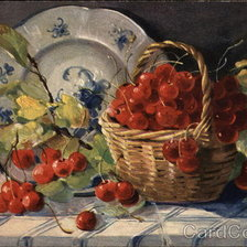 Схема вышивки «Basket or Red Berries on a Table with a Blue and White Pattern P»