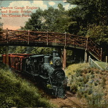 Схема вышивки «Narrow Gauge Engine and Rustic Bridge, Mt. Gretna Park»