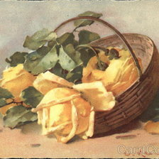 Схема вышивки «Brown Basket Holding Large Yellow Flowers with Greenery»