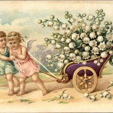Схема вышивки «Two Angels Pulling Wagon Full of Lilies of the Valley»