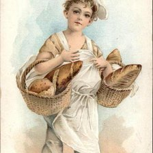 Схема вышивки «Boy dressed as Baker carrying Loaves of Bread»