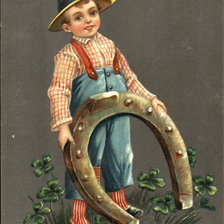 Схема вышивки «Boy with floppy hat is holding a large horseshoe»