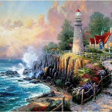 Схема вышивки «The Light of Peace Painting. Thomas Kinkade»