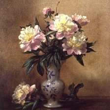 Схема вышивки «Peonies in a Blue and White Vase»