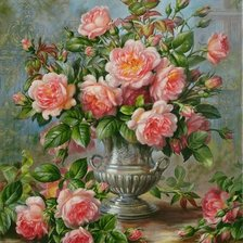 Схема вышивки «ENGLISH ELEGANCE ROSES IN A SILVER VASE»