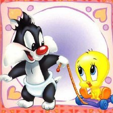 Схема вышивки «Baby Sylvestre and Baby Tweety»