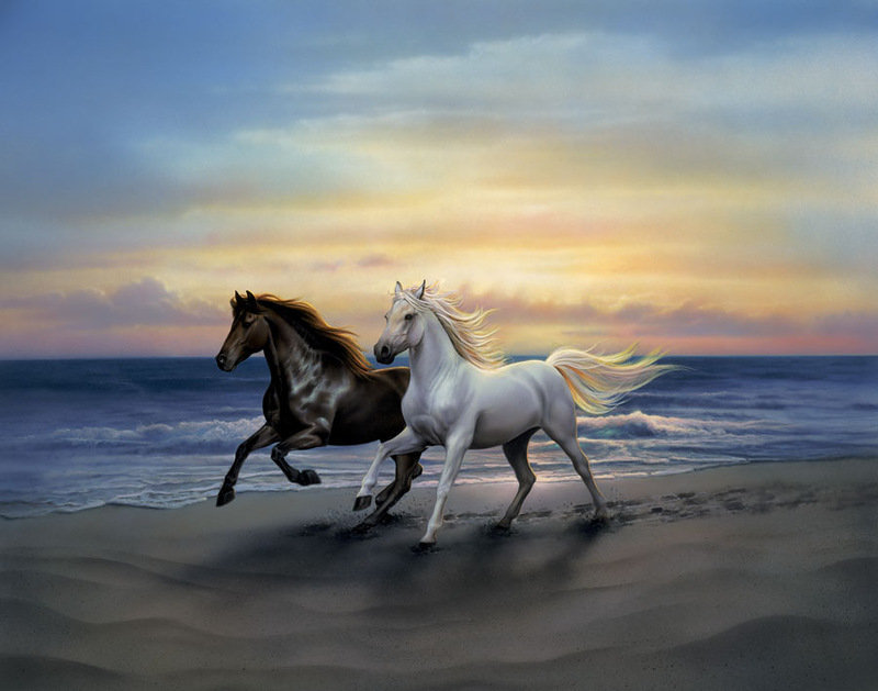 Running white horses painting