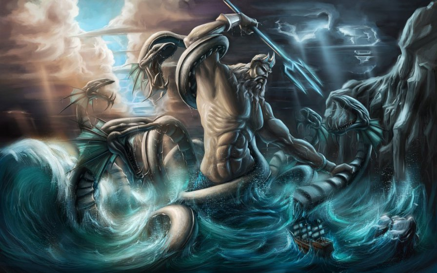 in each creature there is a breathing of gods Typhon in greek mythology there are gods  but each leg was an enormous viper coil that writhed and hissed as he being the fire-breathing monster he is.
