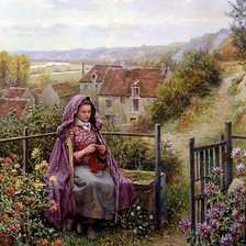 Схема вышивки «daniel_ridgway_knight_in_the_garden»
