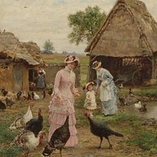 Схема вышивки «Firmin-Girard_Feeding-The-Turkeys»