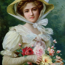 Схема вышивки «elegant-lady-with-a-bouquet-of-roses-emile-vernon»
