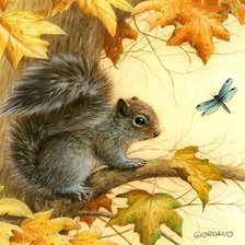 Схема вышивки «squirrel and dragonfly»