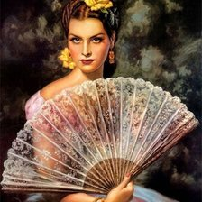 Схема вышивки «Lady with fan»