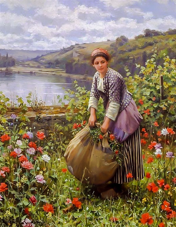 The Grass Cutter. - daniel ridgway knight painter.ladies.flowers and flowers. - оригинал