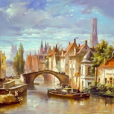 Схема вышивки «Barge in the Bruges Canal.»