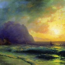 Схема вышивки «Sunset at Sea by Ivan Aivazovsky,1853»