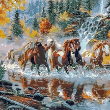 Схема вышивки «Horses Running in the River.»