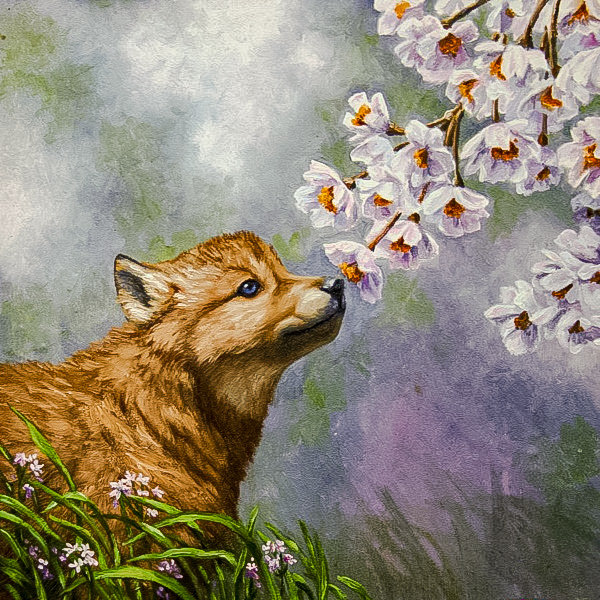 The Little Wolf. - rosemary millette painter.animals.flowers and gardens. - оригинал
